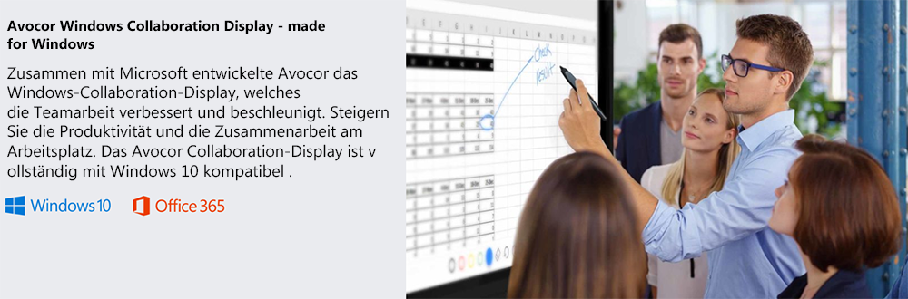 Avocor Windows Collaboration Display mit Kamera, Mikrofon und Office365 Integration