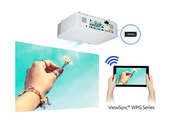ViewSonic PRO8800WUL mit optionalem VC10 HDMI-Dongle drahtlos präsentieren