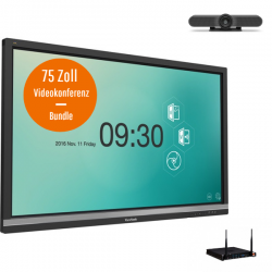 ViewSonic IFP7550-3 Videokonferenz-Bundle - 75 Zoll Touch Display - Logitech MeeetUp Kamera - ViewSonic Slot-in PC i5 - 8GB RAM - 128GB SSD - Win 10 Pro 64bit