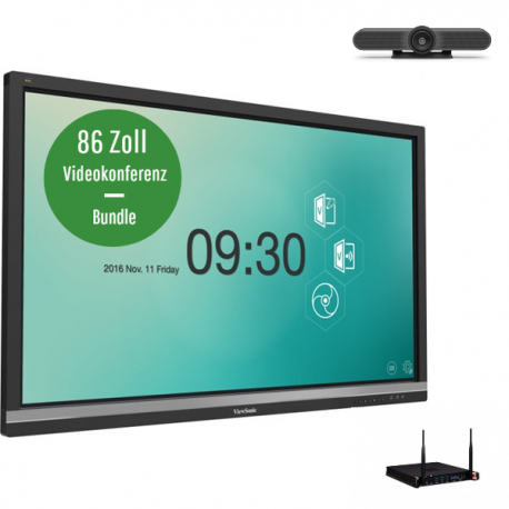 ViewSonic IFP8650-2EP Videokonferenz-Bundle - 86 Zoll Touch Display - Logitech MeeetUp Kamera - ViewSonic Slot-in PC i5 - 8GB RAM - 128GB SSD - Win 10 Pro 64bit